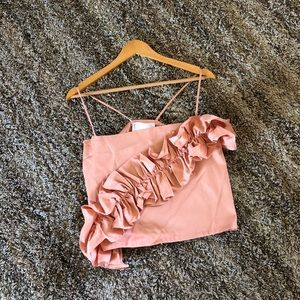 NWT! Urban Outfitters Peach Ruffle Crop Top!